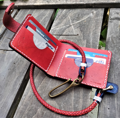 Custom Made Handmade Leather Biker Wallet Currus Vegetable Tanned Blue Red With Braided Chain