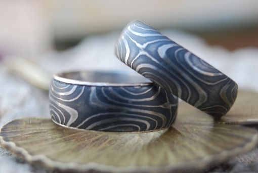 Custom Made Star Flame Damascus Wedding Band Set Flat With Silver Liner