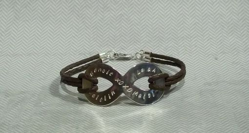 Hand Crafted Infinity Symbol Bracelet With Custom Names Hand Stamped