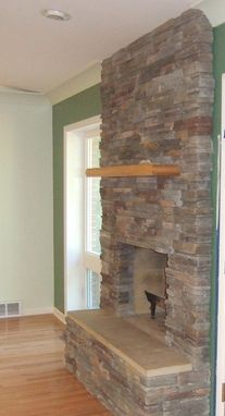 Custom Made Mantel Solid Piece Of Wood With Fireplace Stone Surround
