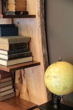 Custom Made Rustic Live Edge Oak Slab Bookcase Built In Desk By Intelligent Design