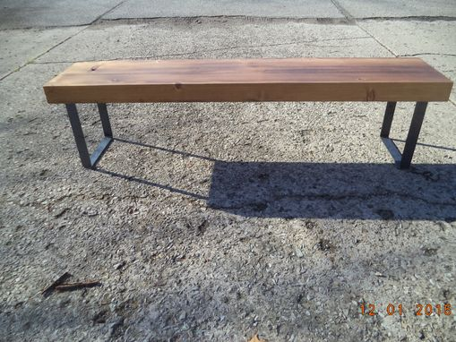 Custom Made 6' Wooden Bench With Steel Legs In A Farmhouse Style