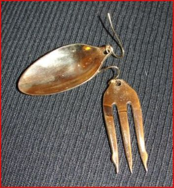 Custom Made 18 Kt Gold Vermeil Over Brass Olive Fork And Sugar Spoon Earrings