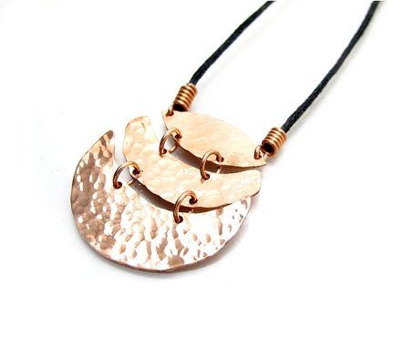 Custom Made Hammered Copper Necklace - Tiered Kinetic Necklace - Pendant With Movement