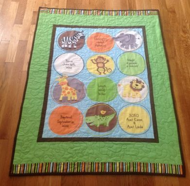 Custom Made Cute Jungle Animals Personalized Embroidered Baby Quilt