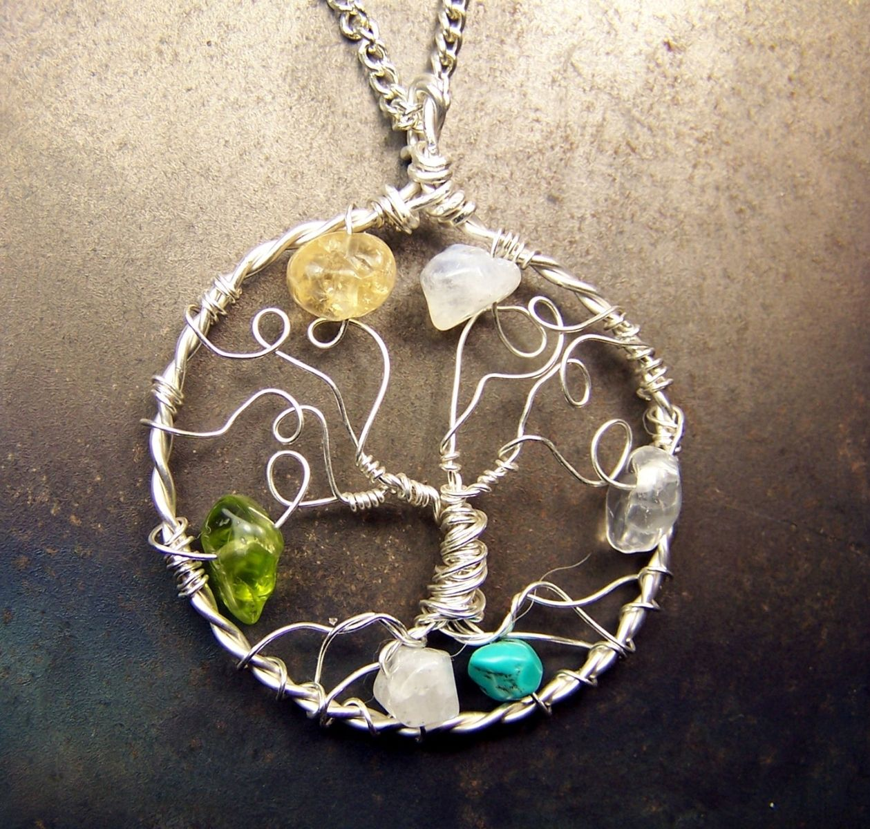 Buy a hand made genealogy family tree necklace pendant tree of custom made genealogy family tree necklace pendant tree of life gemstone birthstone necklace aloadofball Images