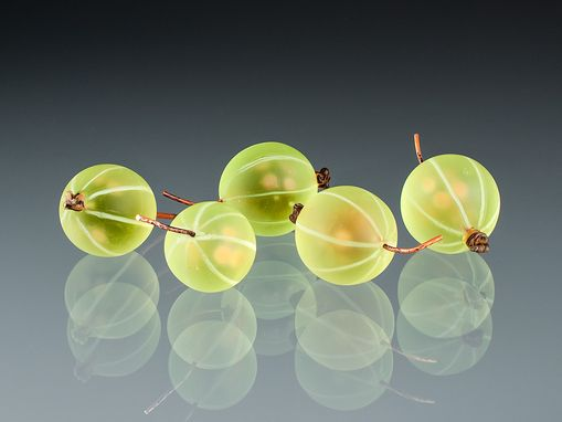 Custom Made Realistic Glass Green Gooseberry Sculpture, Life-Sized