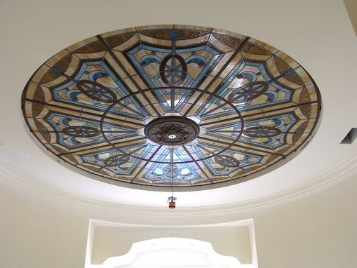 "Custom Made Stained Glass Illuminated ""Flat"" Ceiling Treatment In The Foyer Stairwell.  Custom Home At The Sanctuary, Boca Raton, Fl"