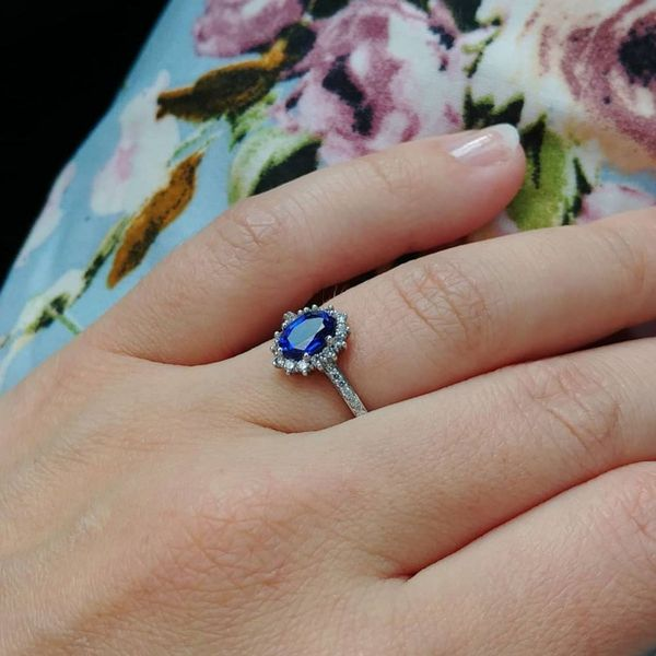 Inspired by Kate Middleton's hugely popular ring, we designed this sapphire ring for a customer with tweaks to make it her own.