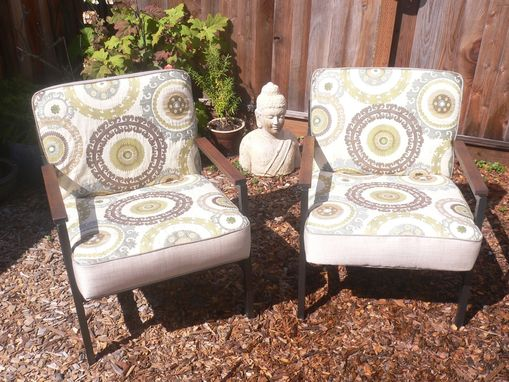 Custom Made Vintage Mid Century Modern Accent Chairs, Fully Restored, Anthropologie Style