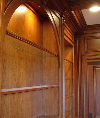 Custom Made Cherry Paneled Library With Bookcases