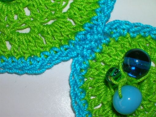 Custom Made Crocheted Turquiose And Green Three Circles Necklace And Earring Set