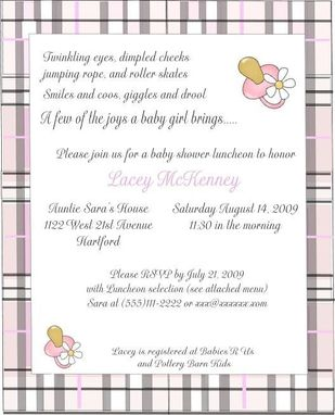 Custom Made Burberry Inspired Baby Shower Invitations- Customized For You