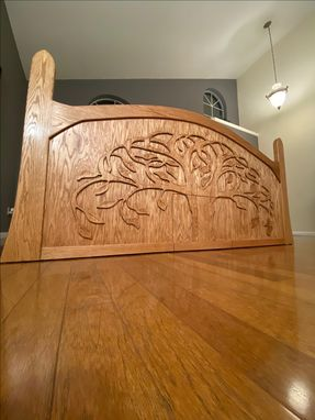 Custom Made Whimsical Custom Bed With Tree Carving
