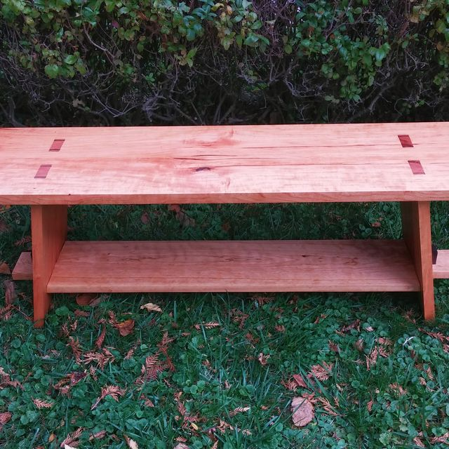 Hand Made Cherry Slab Bench by Kinderling Wood   CustomMade.com