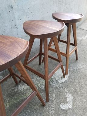 Custom Made Modern Walnut Tractor Seat Stools With Swiveling Seats