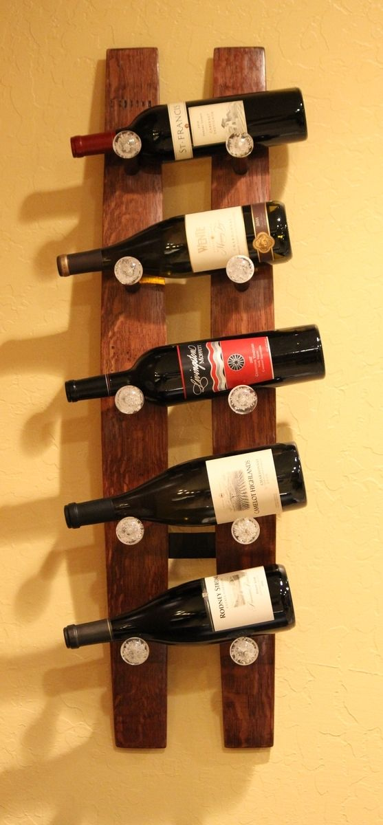 Hand Crafted Wine Stave 5 Bottle Wine Rack By Treasured Wares