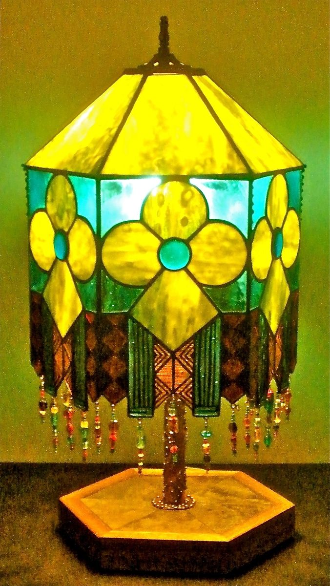 Hand Crafted Stained Glass Hexagonal Lamp With Fused Glass Elements ...