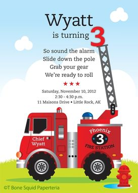 Custom Made Fire Engine Birthday Party Invitation