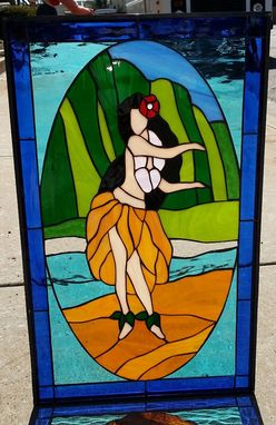 Custom Made Aloha! Hawaiiian Hula Dancer Stained Glass Window