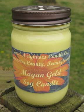 Custom Made Soy Candle, Mayan Gold, 12 Ounce In Jelly Jar With Daisy Cut Lid