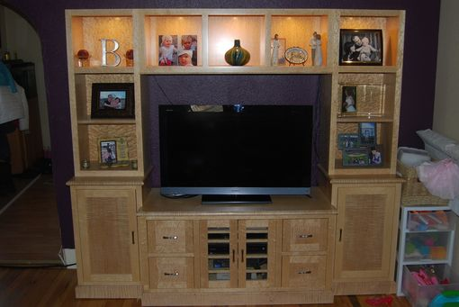 Custom Made Birdseye & Curly Maple Entertainment Center