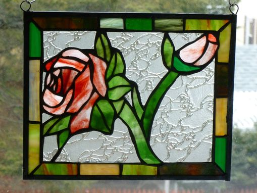Custom Made Red Rose Stained Glass Panel With Green And Brown Border