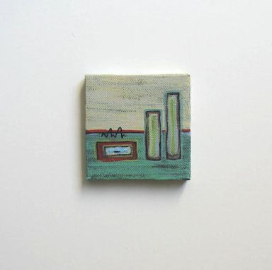 Custom Made Turquoise Abstract Miniature Painting Original Acrylic On A Mini Canvas