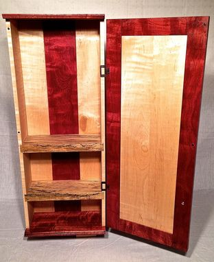 Custom Made Curly Maple And Purpleheart Wall Cabinet