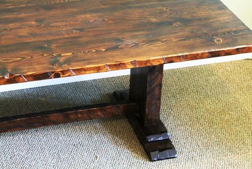Custom Made Pedestal Tables With Resawn Edge Adds Rustic Beauty.