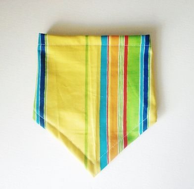 Custom Made Yellow Stripe Reversible Bandana Bib For Baby