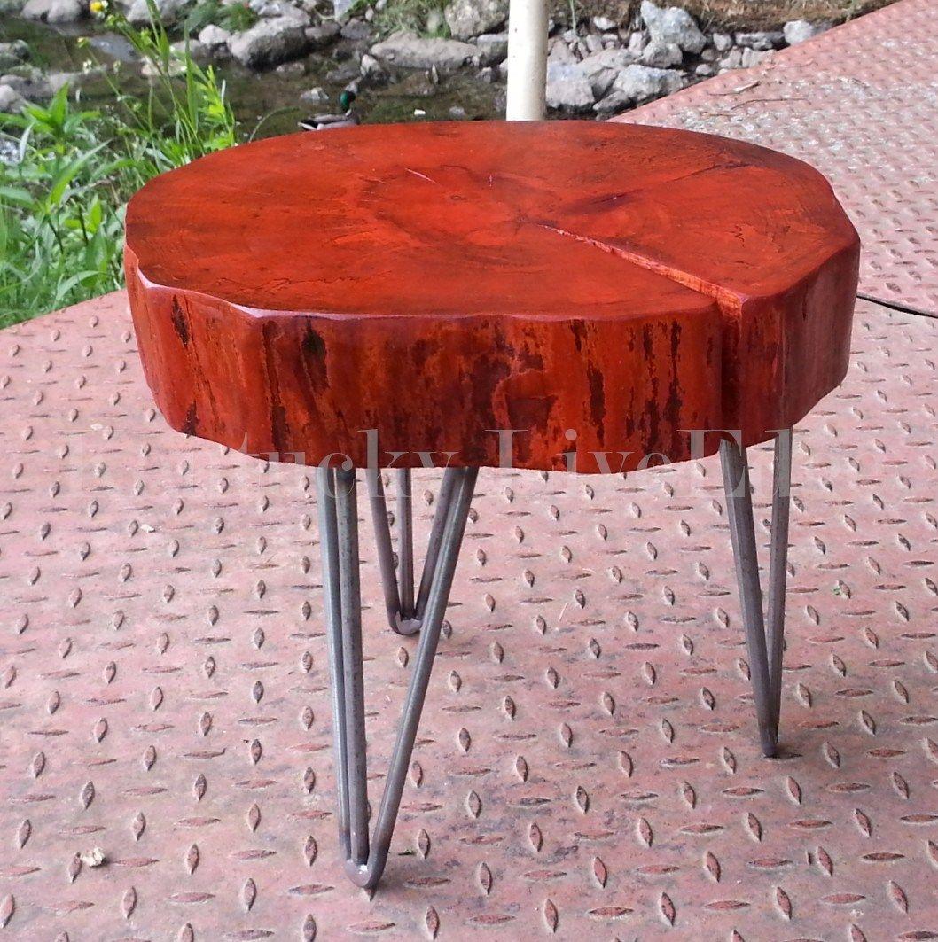 Custom Made Orange Plant Stand Log Furniture Round Modern Table