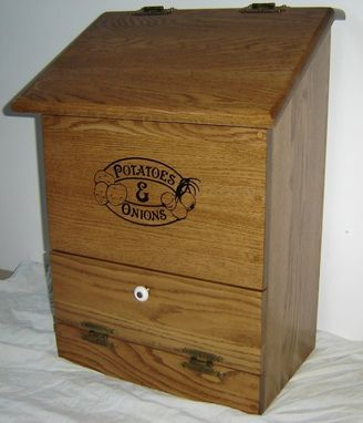 Custom Made New Solid Oak Wood Kitchen Potatoes And Onions Bin
