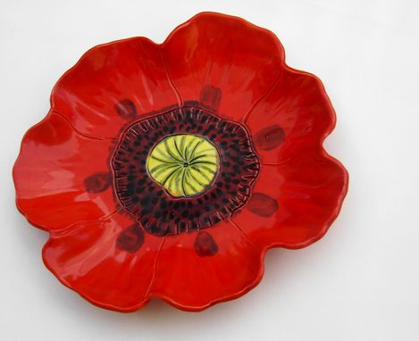 Custom Made Red Poppy Serving Dish, Fruit Bowl, Handmade Pottery
