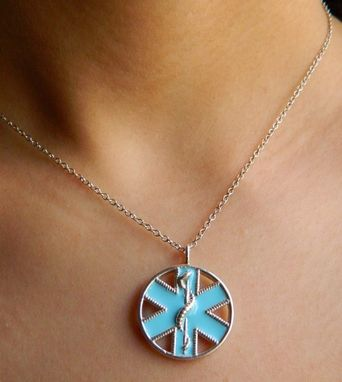 Custom Made Medical Id Necklace By Vital Voice Jewelry In Sterling Silver And Enamel. Custom Engraved On Backside