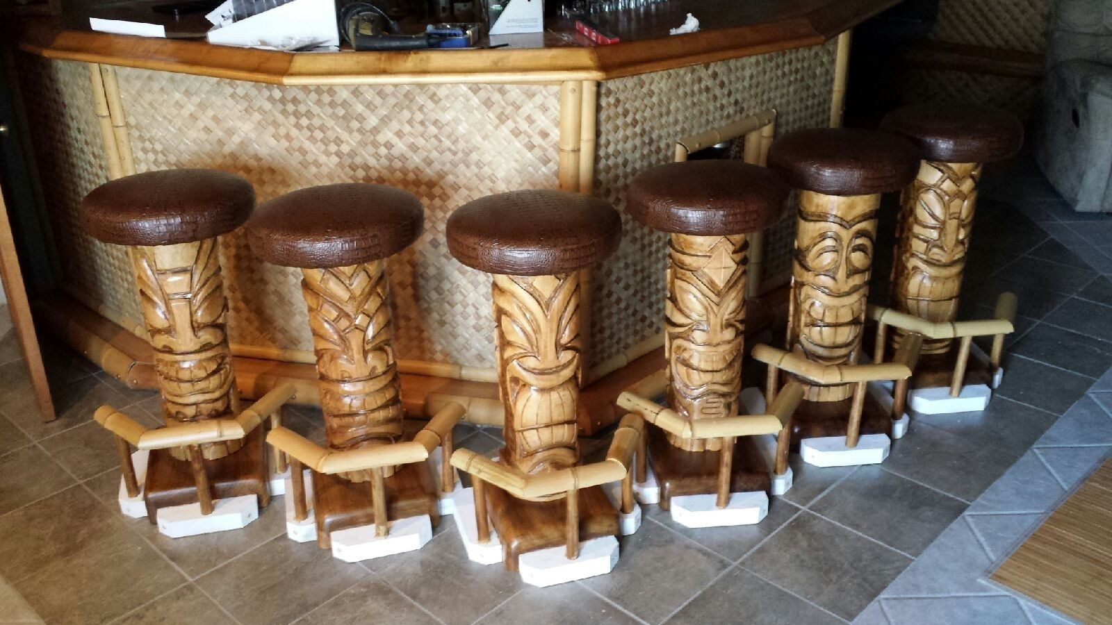 Custom Made Outdoor Tiki 6 Pack Bar Stools By Belly Up Pub
