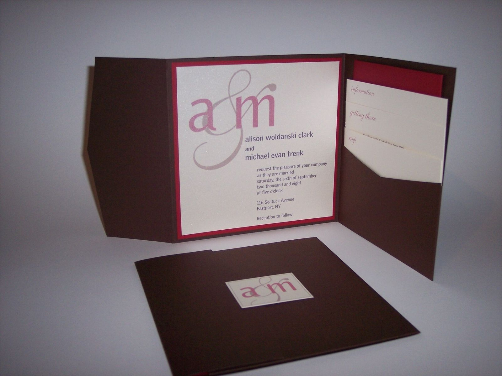 Custom Made Wedding Invitations: Handmade Custom Pocket Wedding Invitations By