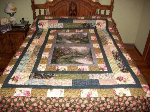 Custom Made Lovely Stripped Custom Quilt With Thomas Kinkade Panels.