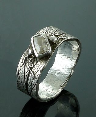 Custom Made Free Form Ring With Rectangular Stone
