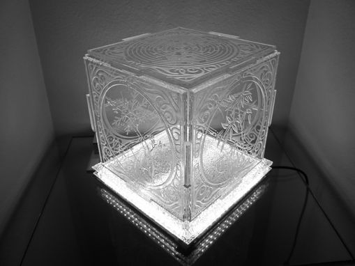 Custom Made Illuminated Crystal Artwork - 4 Seasons Crystal Cube