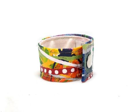 Custom Made Rainbow Cuff - Organic Hemp Fiber Bracelet - Hand Painted Multicolored Wrist Band