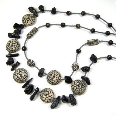 Custom Made Handmade One Of A Kind Double Strand Necklace Of Bett O'S Reversible Ceramic Clay Garden Beads