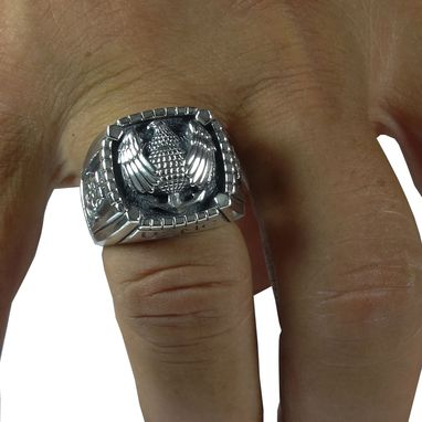 Custom Made Sterling Silver 925 Us Marine Corps Eagle, Globe, And Anchor Soldier Military Skull Biker Mens Ring