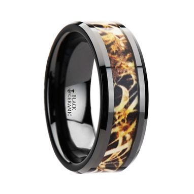 Custom Made Tundra Black Ceramic Wedding Band With Leaves Grassland Camo Inlay Ring - 8mm