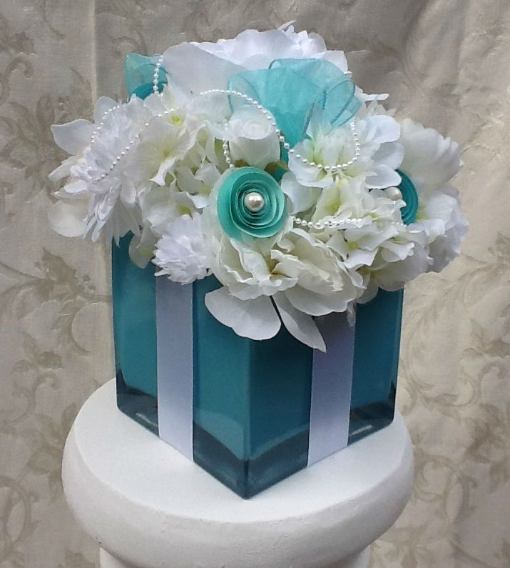 Buy A Custom Made Tiffany Themed Silk Floral Arrangement Made To