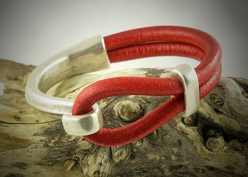 Custom Made Leather Cuff Bracelet Red Regalize Licorice With Antiqued Silver Hook Neck Clasp
