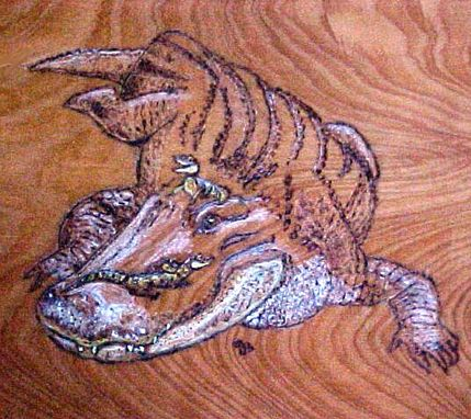 Custom Made Cypress Table With Pyrography Alligator Mom And Babies