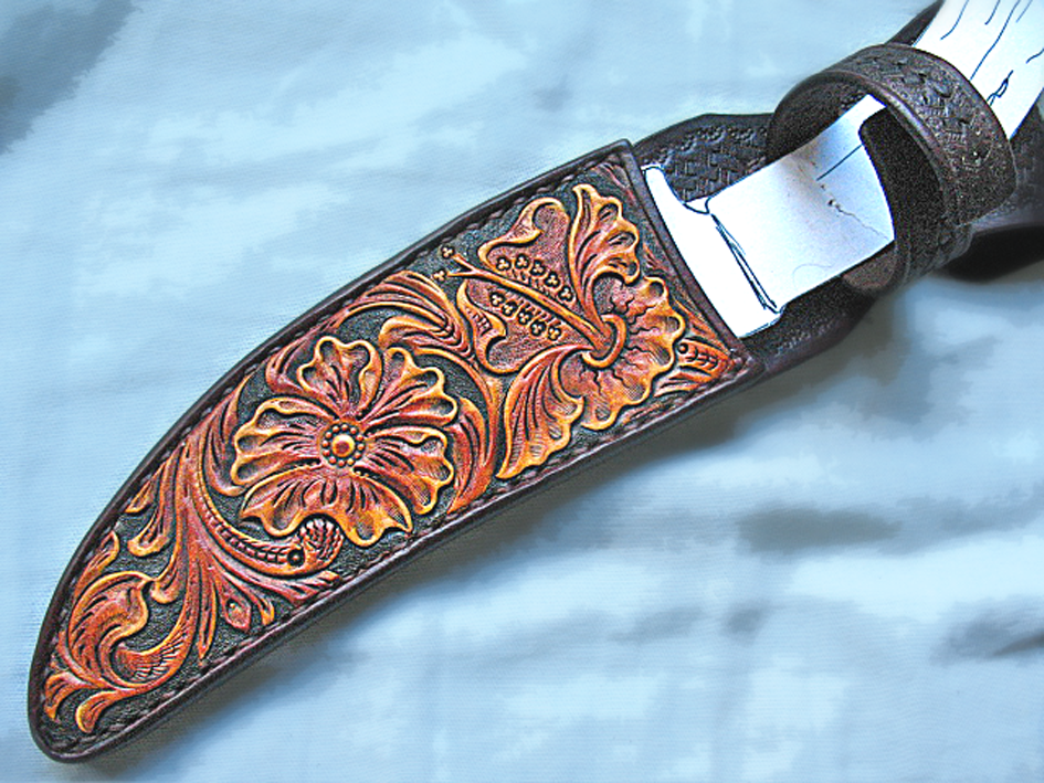 Buy A Hand Made Tooled Leather Knife Sheath Made To Order
