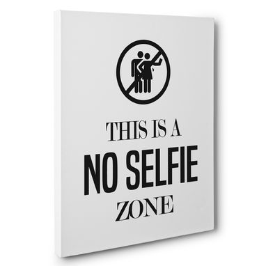 Custom Made No Selfie Zone Bathroom Humor Canvas Wall Art
