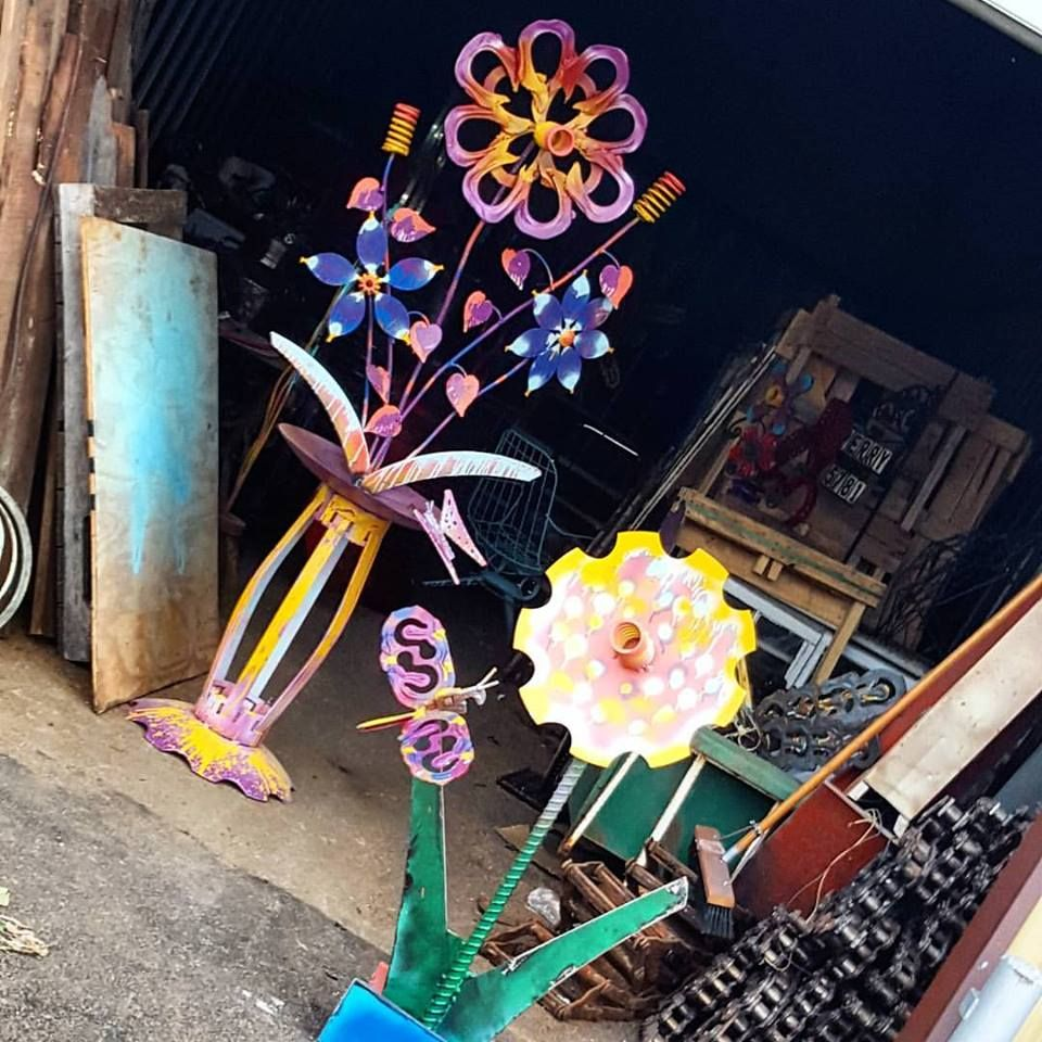 Buy Handmade Whimsical Artwork Outdoor Metal Flower Sculptures Art